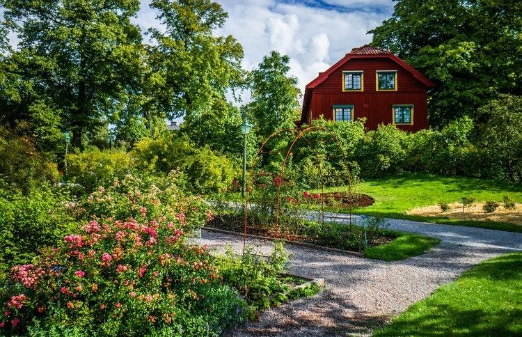 En röd byggnad i bakgrunden och trädgård med grusvägen där fram. Illusterar strandskyddsdispens för breddning av befintlig väg.