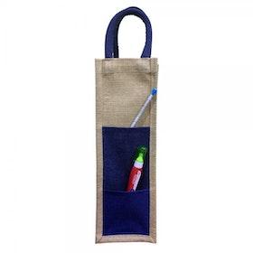 Oscar Borgström Bag for Bottle väska för vinflaska/butelj Jute natur/blå