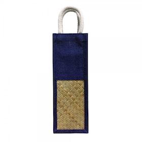 Oscar Borgström Bag for Bottle väska för vinflaska/butelj blå Jute flätad bambu