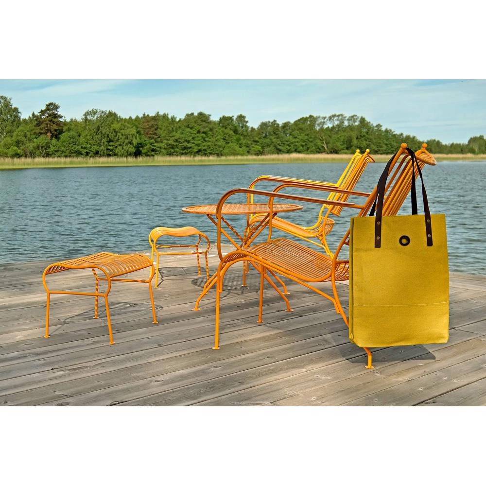Oscar Borgström Hipster Bag Tote bärväska 40x32x7cm vaxad canvas Yellow