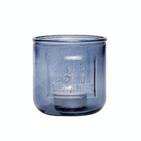 Blå Shine a light ljuslykta av återvunnet glas från Hübsch