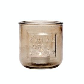 Brun Shine a light ljuslykta av återvunnet glas från Hübsch