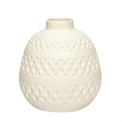 Vacker vit keramikvas / blomvas med mönster från danska Hübsch