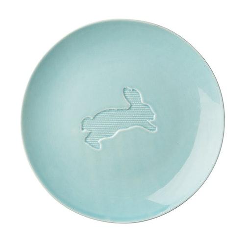 Keramiktallrik - mint - med hare (22 cm) från RICE