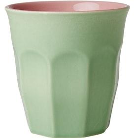 Stor keramikkopp / keramikmugg från RICE - Mjuk grön & rosa