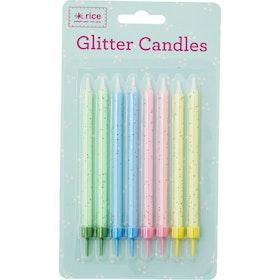 Tårtljus med glitter i 8-pack - från RICE
