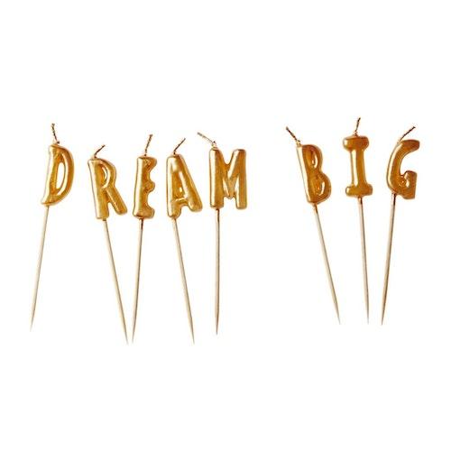 Guldfärgade tårtljus Dream Big - från RICE