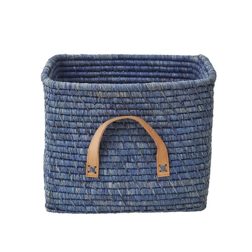 Blå korg med läderhandtag - från RICE