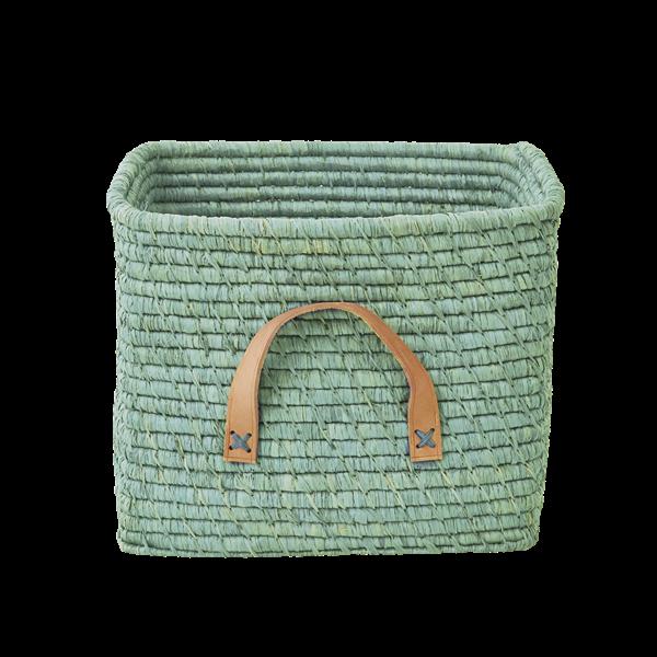 Mint / mintgrön korg med läderhandtag - från RICE