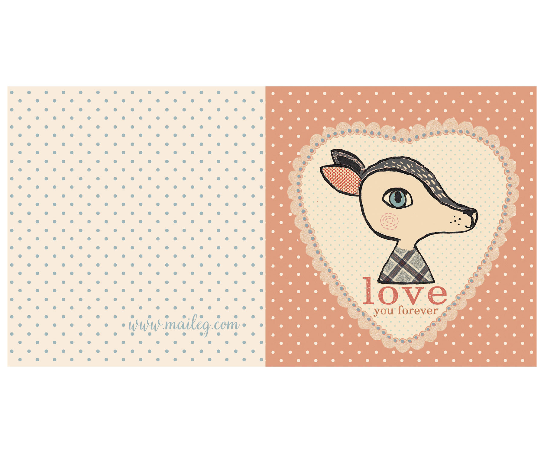 Bambi rose dubbelvikt kort / vykort - från MAILEG