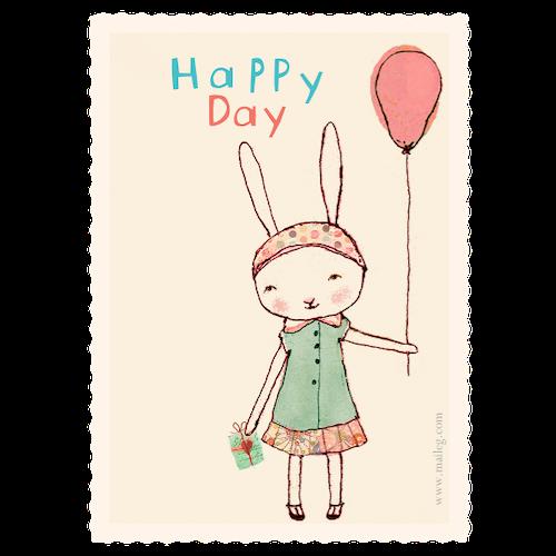 T & F Happy Day girl - kalaskort - från MAILEG