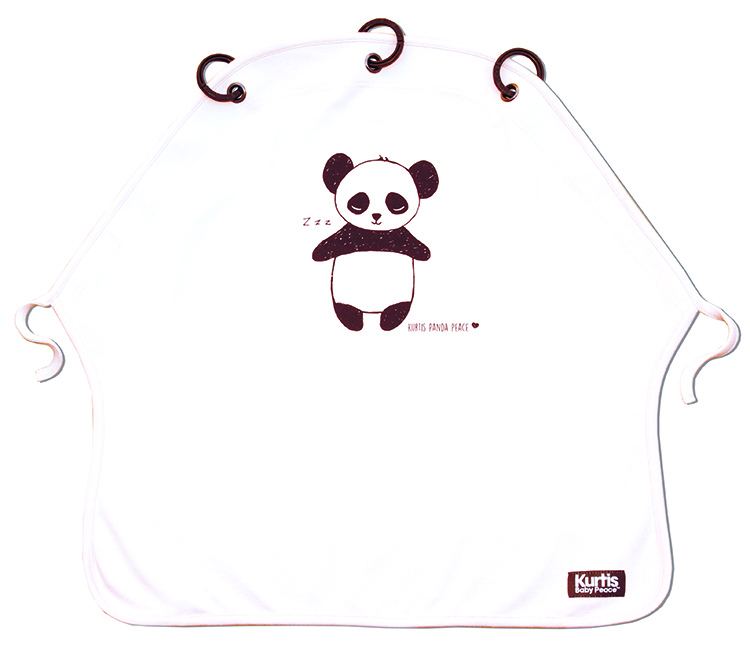 Pram Curtain Kurtis Panda White