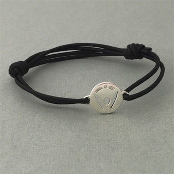 """Pick-Me-Up"" Small silver tag, black strap"