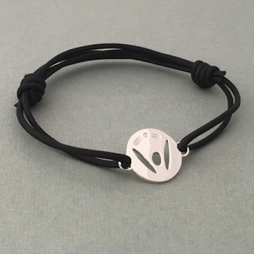 """Pick-Me-Up"" Large silver tag, black strap"