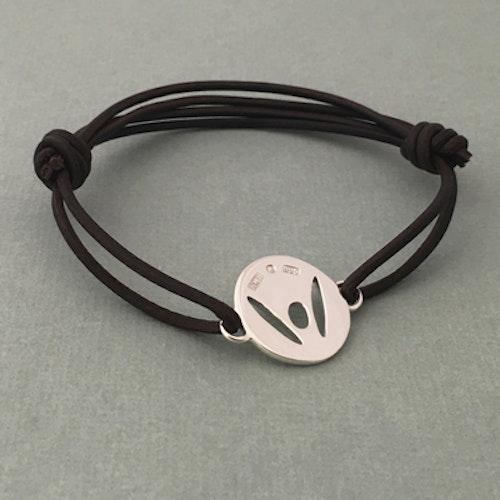 """PickMeUp"" Large silver tag, darkbrown strap"