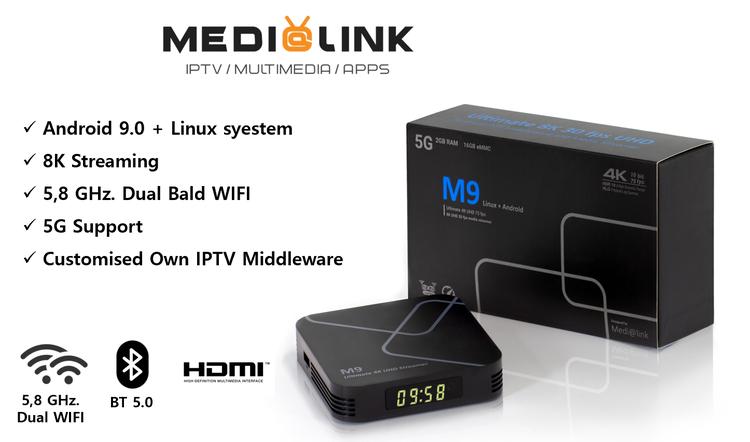 M9 IpTV box 4K inbyggd WiFi 2,5 och 5 Ghz band USB3.0
