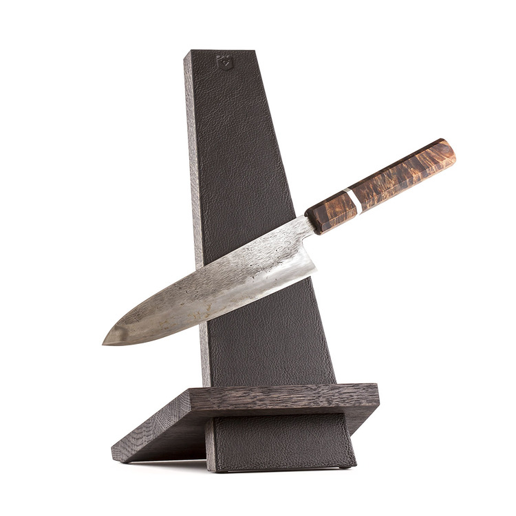 Leather and oak Knifestand