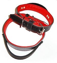 Halsband med handtag, svart/röd