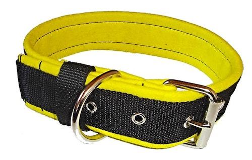 Halsband 5 cm brett, svart med gult foder