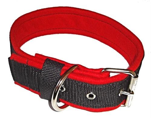 Halsband 5 cm brett, svart med rött foder