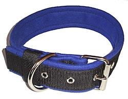 Halsband 5 cm brett, svart med blå foder