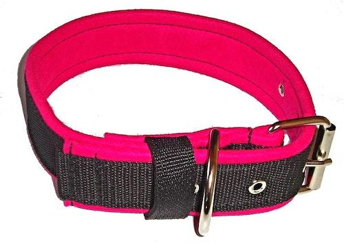 Halsband 5 cm brett, svart med cerise foder