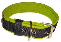 Halsband 5 cm brett, svart med limegrönt foder