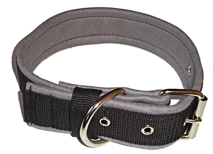 Halsband 5 cm brett, svart med grå foder