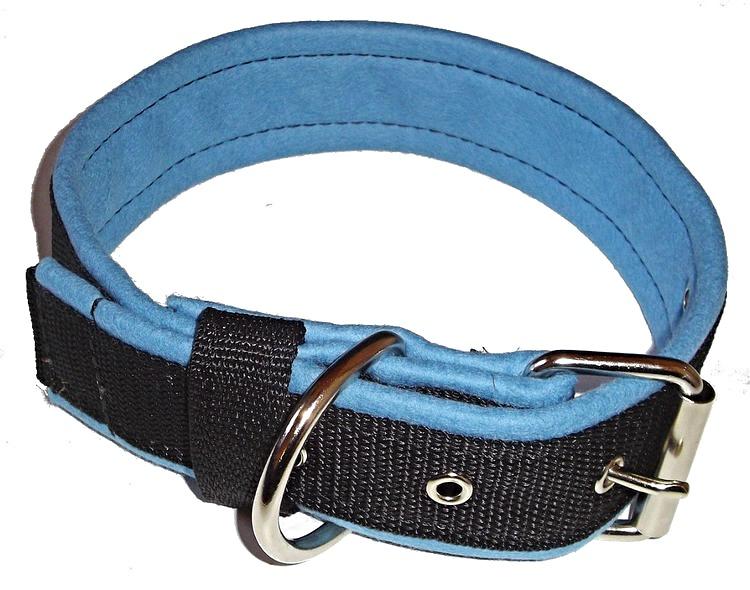 Halsband 5 cm brett, svart med ljusblå foder