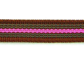 Antiglid koppel/lina 20 mm utan handtag, brun/rosa