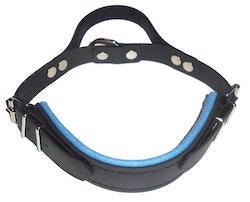 Hetshalsband med handtag, Ljusblå