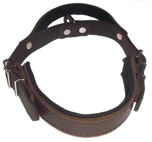 Hetshalsband i mörkbrunt läder, med handtag