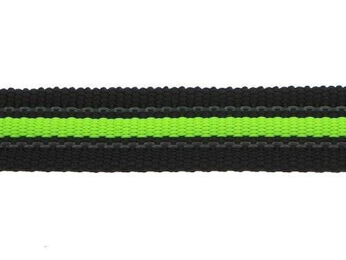 Antiglid koppel/lina 20 mm utan handtag, Svart/limegrön