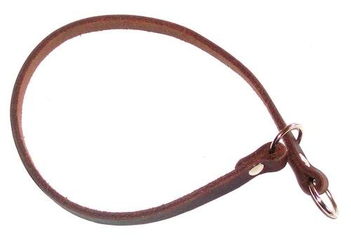 Stryphalsband i läder, brun 10 mm bred