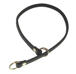 Stryphalsband i läder, svart 10 mm bred