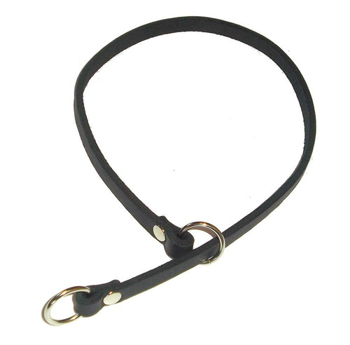Stryphalsband i läder, svart