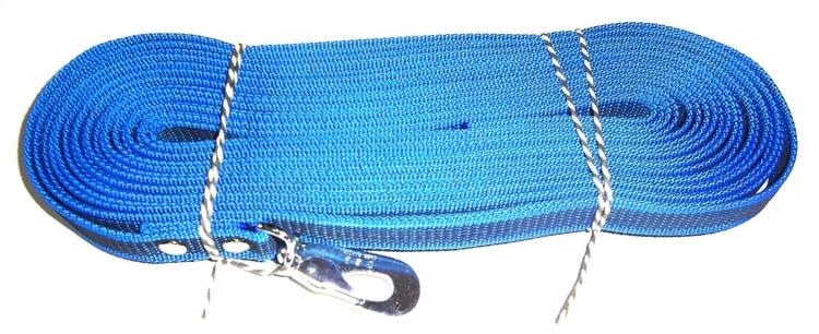 Antiglid koppel/lina 20 mm utan handtag, azurblå/svart