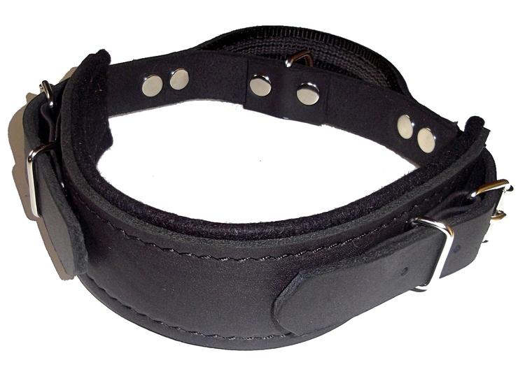 Halsband i läder med handtag, svart