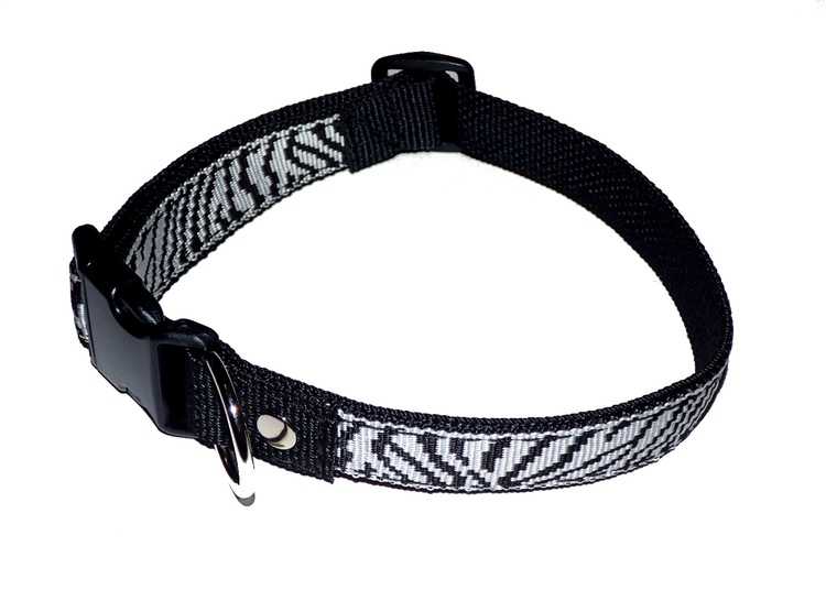 "Ställbart halsband ""zebra randig"" 30mm brett"