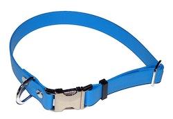 Ställbart halsband i biothane, ljusblå