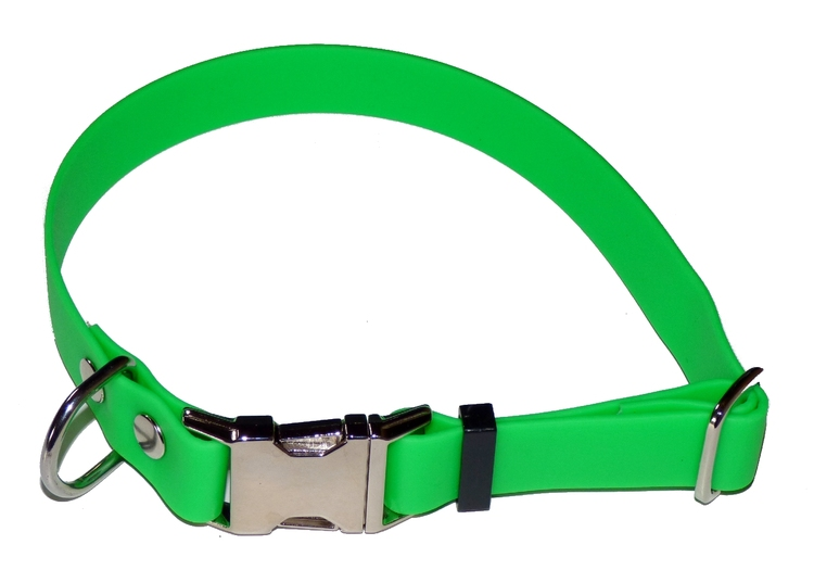 Ställbart halsband i biothane, limegrön