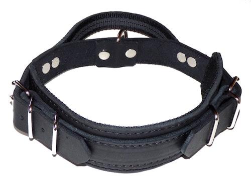 Extra kraftigt halsband av läder med handtag, svart