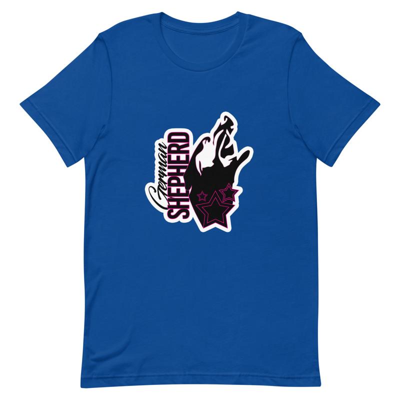 Kort ärm Unisex T-Shirt med schäfertryck