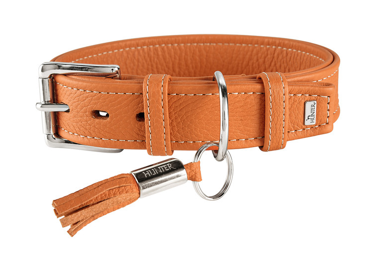 HUNTER Hundhalsband Cannes Orange Kalvläder