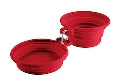 HUNTER Matskål och Vattenskål List Silikon Röd 350/750 ml