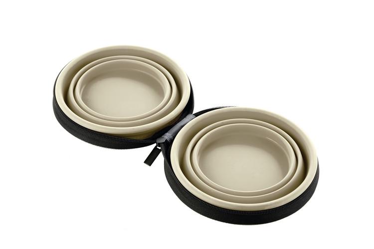 HUNTER Matskål och Vattenskål List Reseset Silikon Beige 750/750 ml