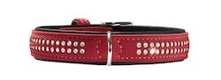HUNTER Hundhalsband Softie DeLux Konstläder Glitter Röd/Svart