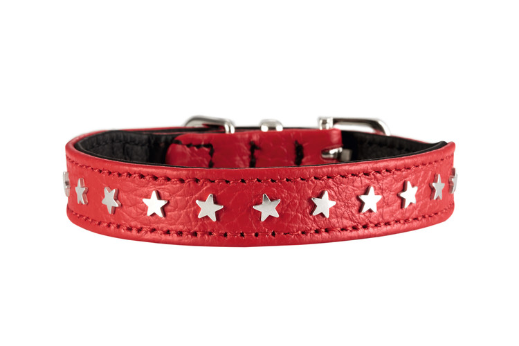 HUNTER Hundhalsband Capri Mini Stars Nappaläder Röd