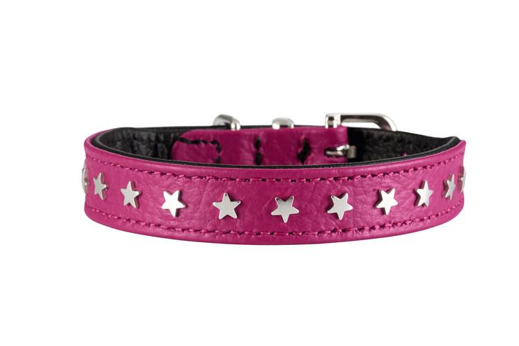 HUNTER Hundhalsband Capri Mini Stars Nappaläder Hallon