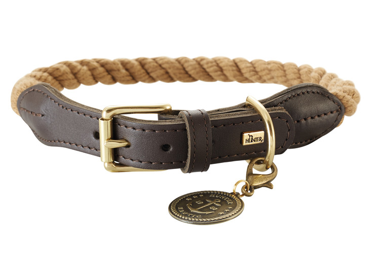 HUNTER Hundhalsband List Natur/Messing
